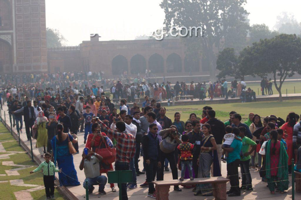 Large Crowd At Taj Mahal